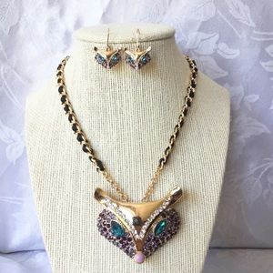Betsey Johnson Large Fox Necklace and Earrings Set